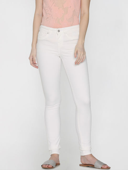 White Mid Rise Skinny Fit Jeans