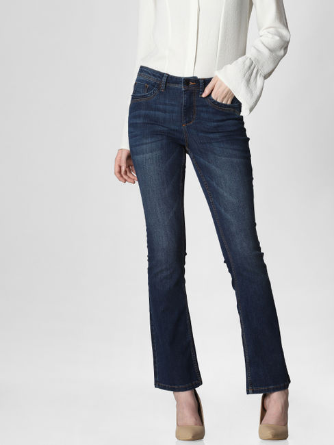 Blue Mid Rise Boot Cut Jeans