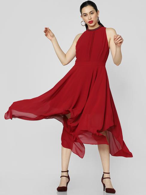 Red Asymmetric Midi Dress