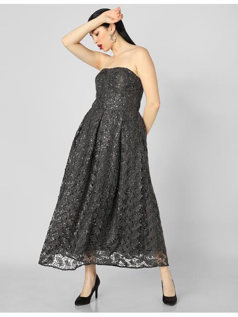 Black Sequin Embellished Midi Dress