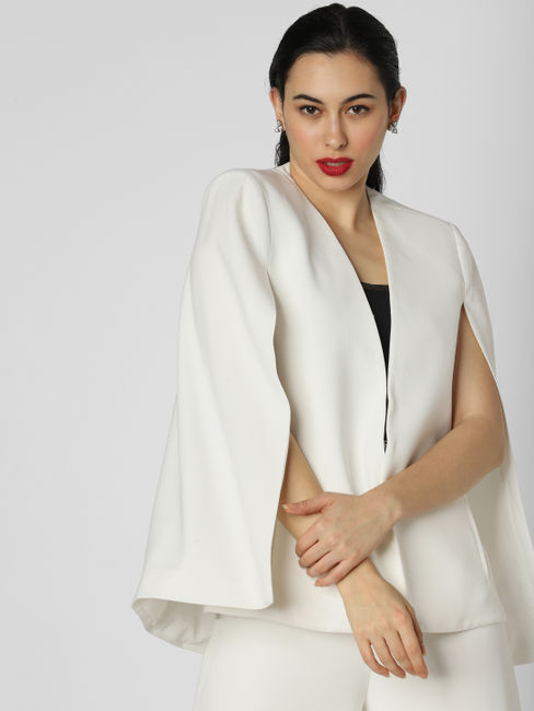 White Cape Formal Blazer