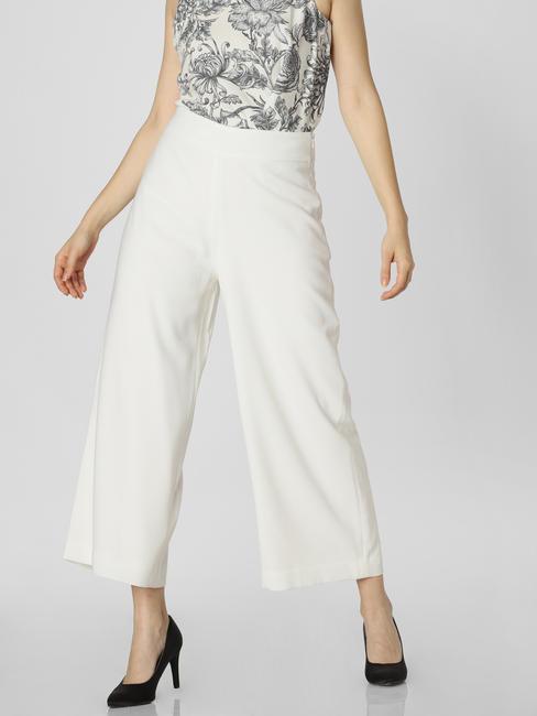 White Mid Rise Culottes