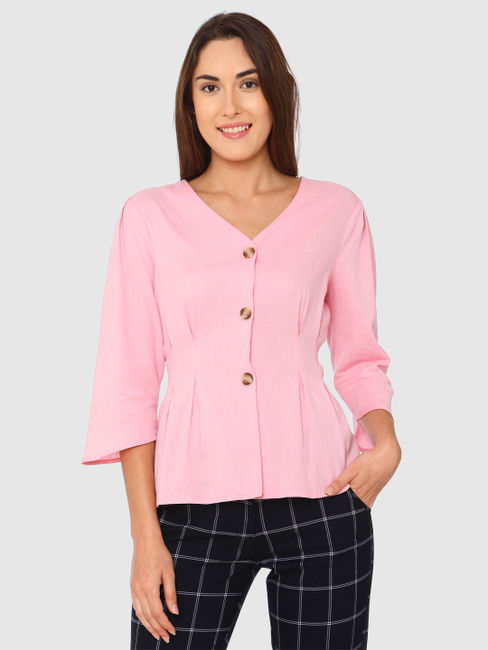 Pink Pleated Waist Top