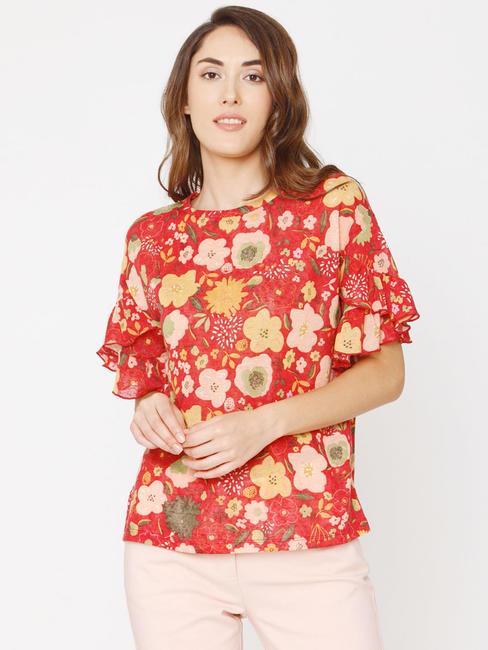 Red Floral Print Top