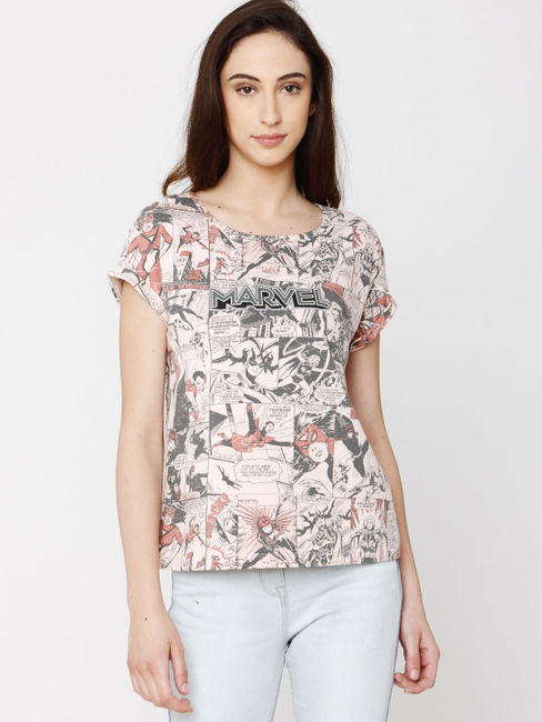 X Marvel Pink All Over Comic Graphic Print T-Shirt