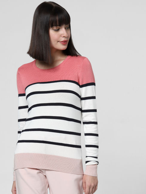 Pink Colourblocked Striped Top