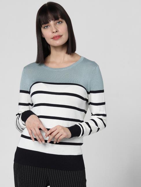 Grey Colourblocked Striped Top