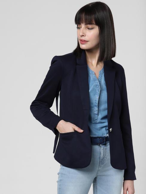 Dark Blue Tape Detail Short Blazer