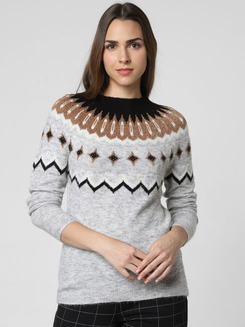 Light Grey Abstract Print Pullover
