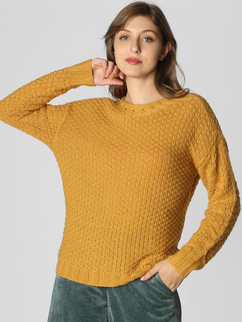 Mustard V-Back Pullover