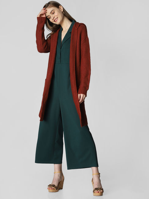 Maroon Hooded Long Cardigan