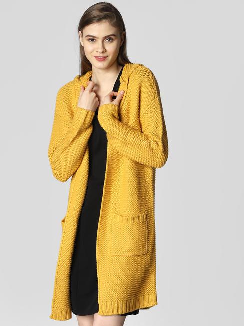 Mustard Hooded Long Cardigan