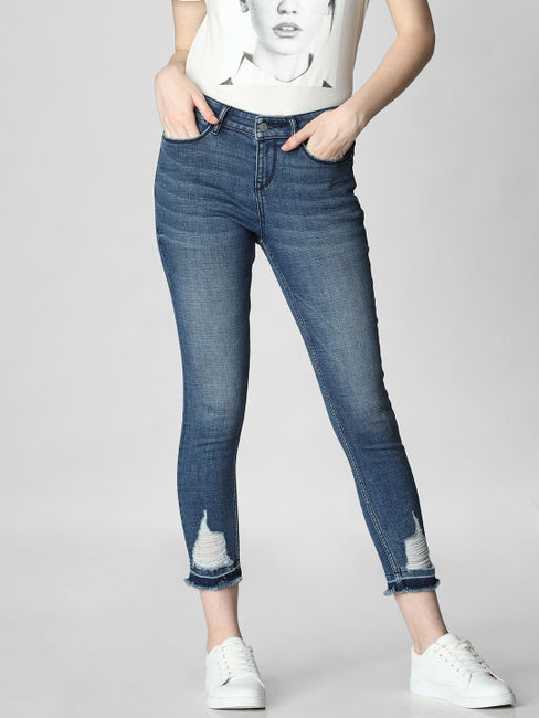 Blue Mid Rise Distressed Skinny Fit Jeans