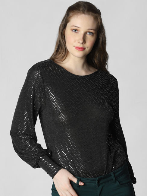 Black Sequin Embellished Bodysuit