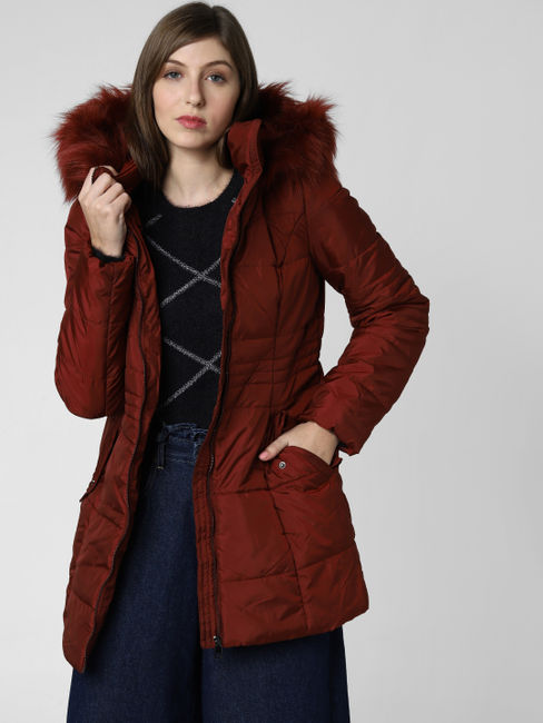 Dark Brown Fur Hooded Long Coat