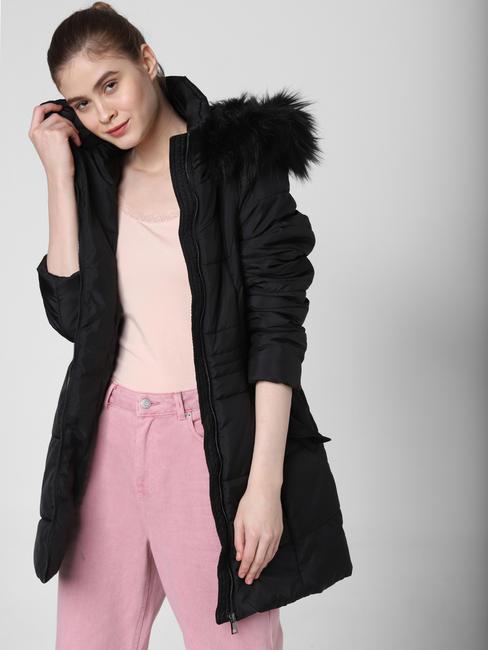 Black Fur Hooded Long Coat