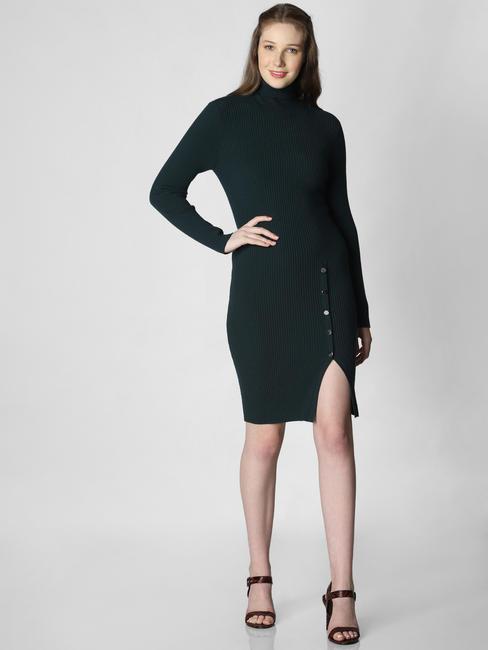Dark Green Turtle Neck Sweater Dress