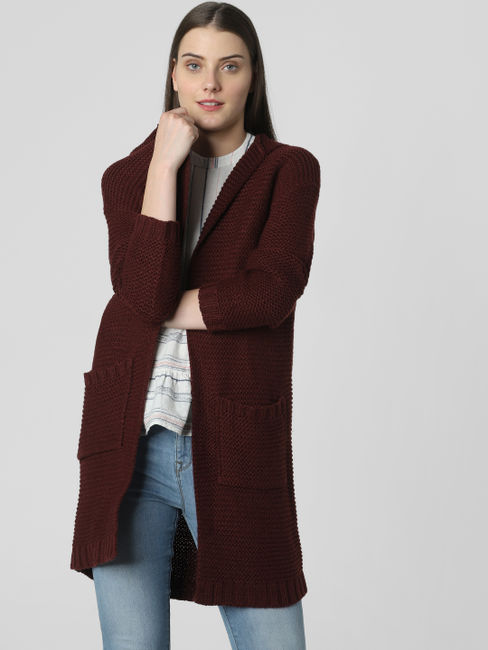 Burgundy Hooded Cardigan