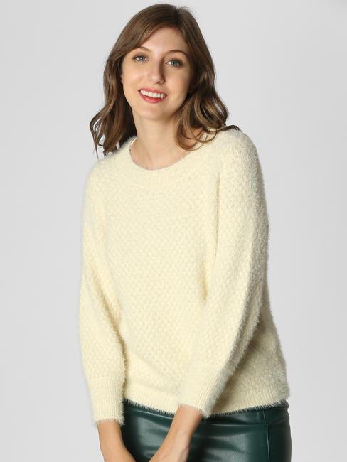 Cream Textured Pullover