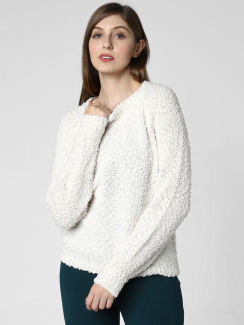 White Textured Pullover