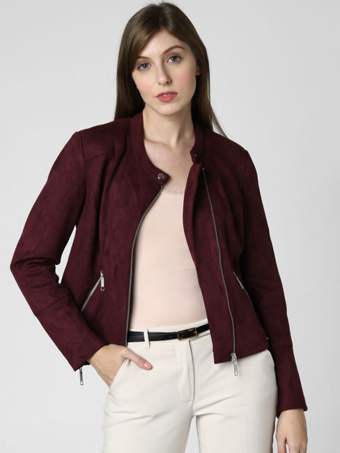 Burgundy PU Jacket