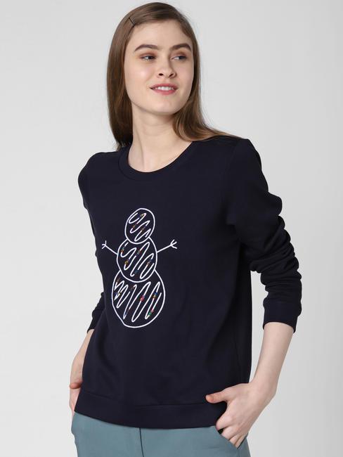 Navy Blue Graphic Print Sweatshirt