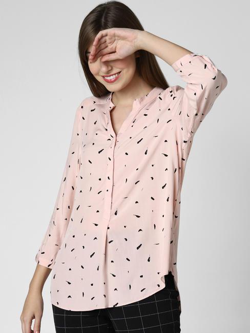 Pink Printed High-Low Top
