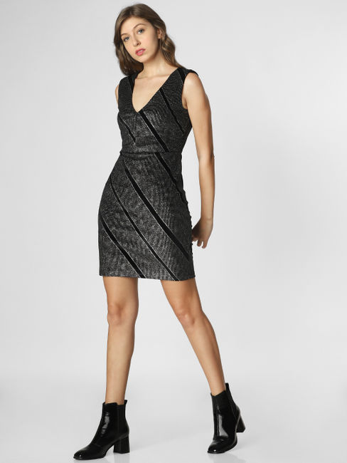 Black Shimmer Mini Bodycon Dress