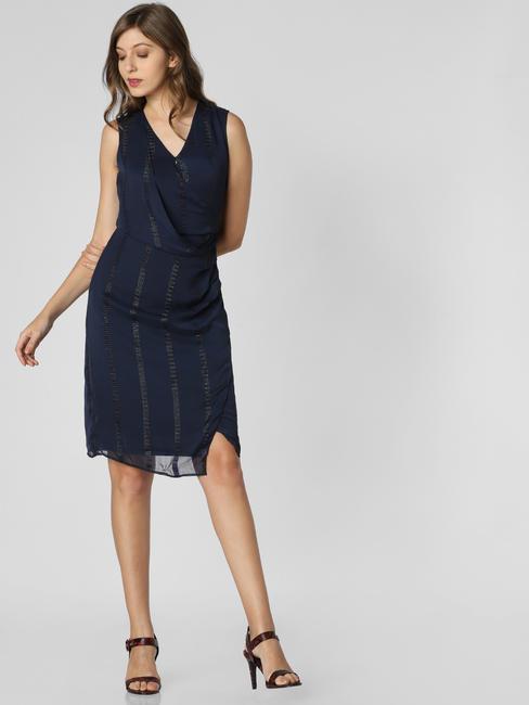 Navy Blue Printed V Neck Dress