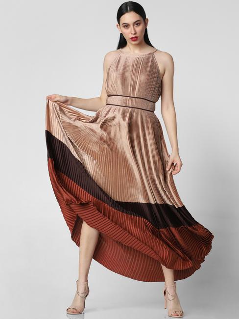 Brown Pleated Colourblocked Maxi Dress