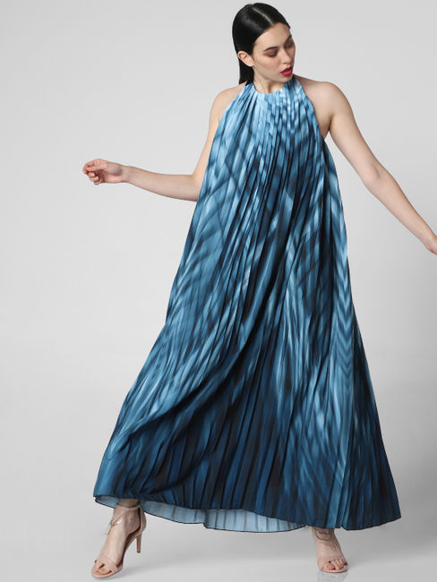 Blue Printed Pleated Maxi Dress