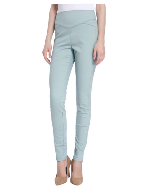 Blue High Waist Slim Pants