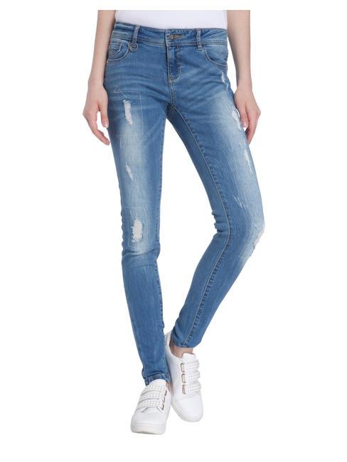 Distressed Super Slim Blue Jeans