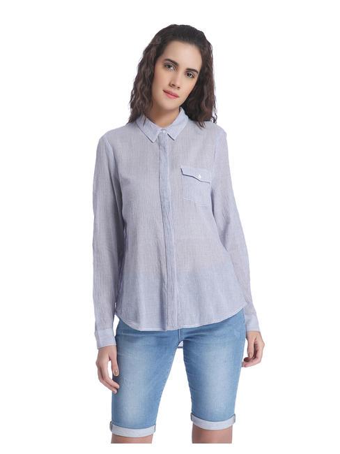 White Striped Collared Shirt