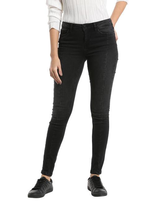 Black Cutline Skinny Jeans
