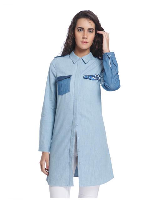 Blue Long Patch Pocket Shirt