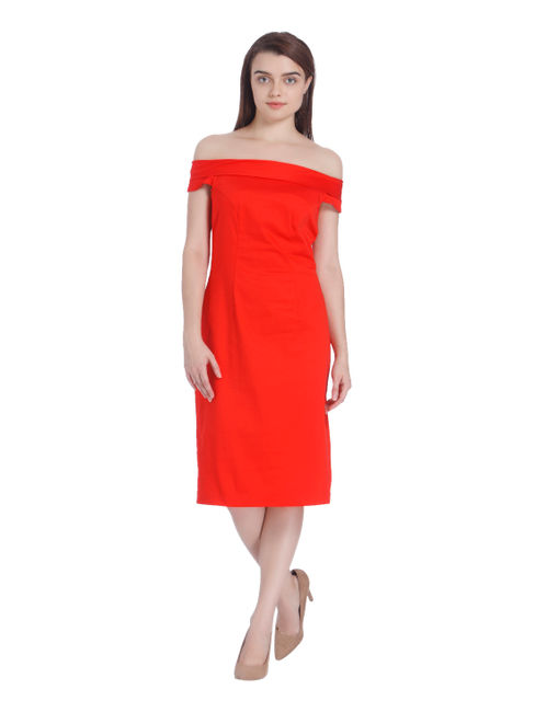 Red Off Shoulder Bodycon Dress