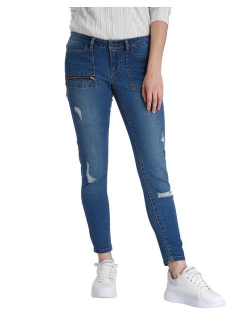 Blue Distressed Low Waist Slim Fit Jeans