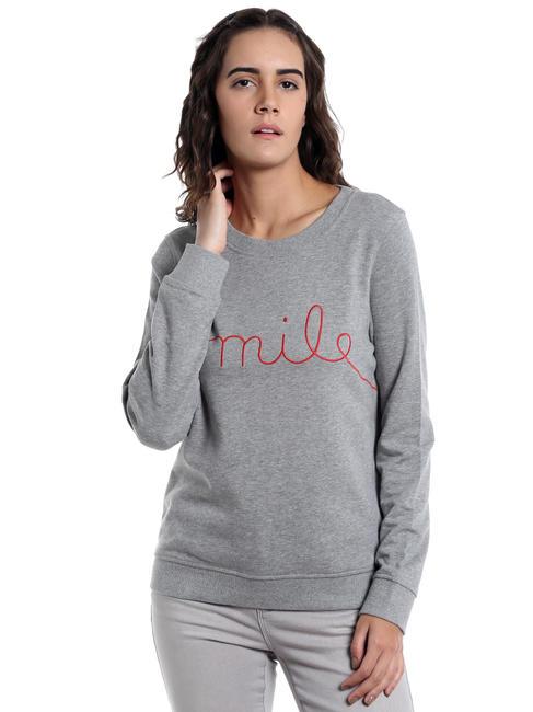 Light Grey Slogan Print Sweatshirt