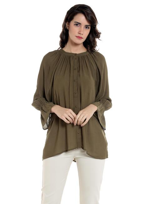 Olive Green Flounce Sleeves Shirt
