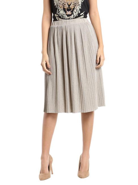 Light Grey Shimmery Pleated Midi Skirt