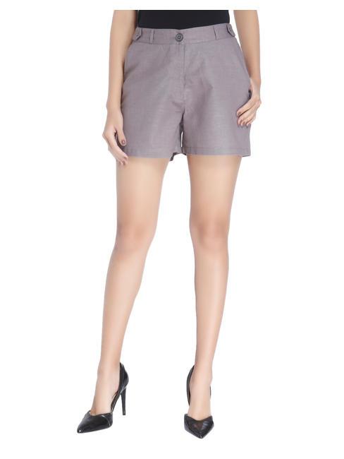 Silver Linen Shorts