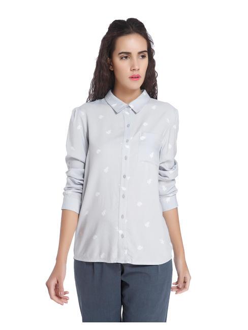 Leaf Print White Shirt