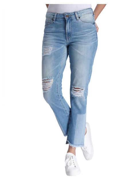Super Slim Ankle Length Patchwork Jeans