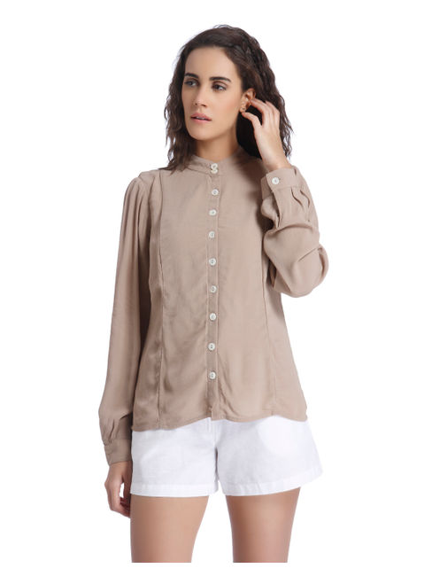 Brown Mandarin Collar Shirt