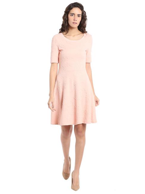 Peach Textured Print Skater Dress