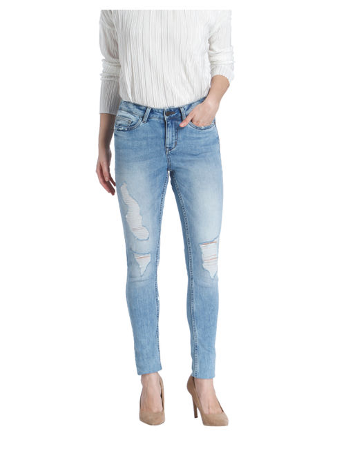 Light Blue Distressed Super Slim Jeans