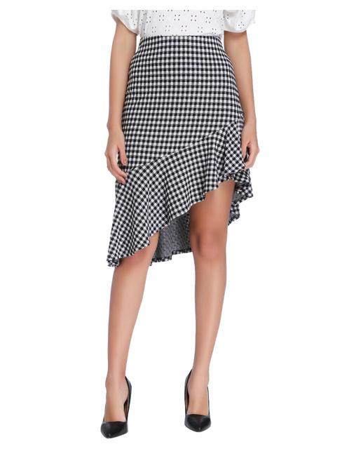 Black Gingham Asymetrical Skirt