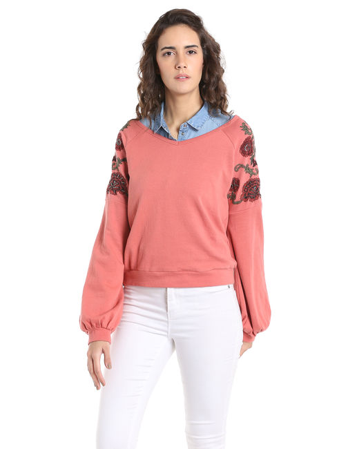 Pink Embroidered Cropped Sweatshirt
