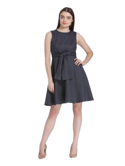 Dark Grey Front Knot Skater Dress